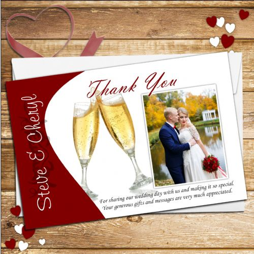 10 Personalised Wedding Thank you Photo Cards N146